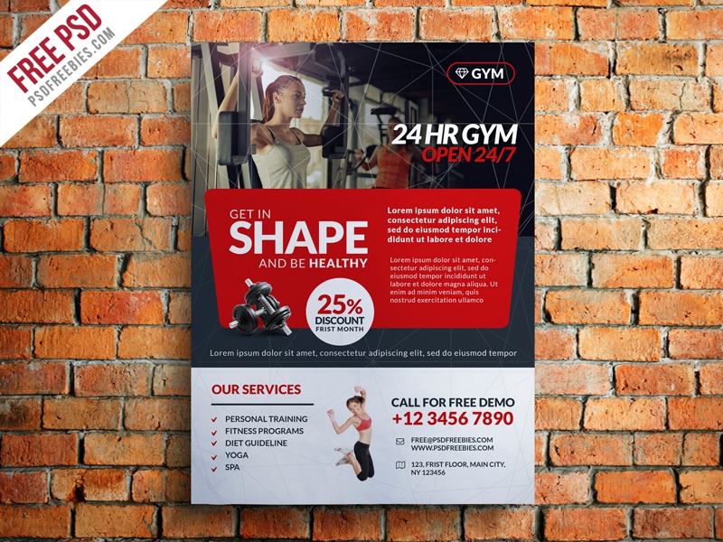 Freebie Gym And Fitness Club Flyer Template Free PSD by PSD – Free Fitness Flyer Templates