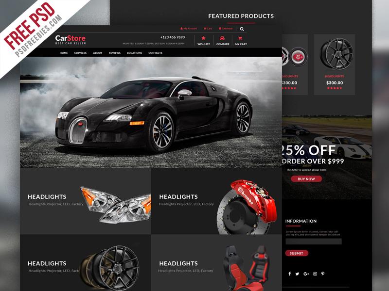 Freebie Car Accessories Ecommerce Web Template Psd By Psd Freebies