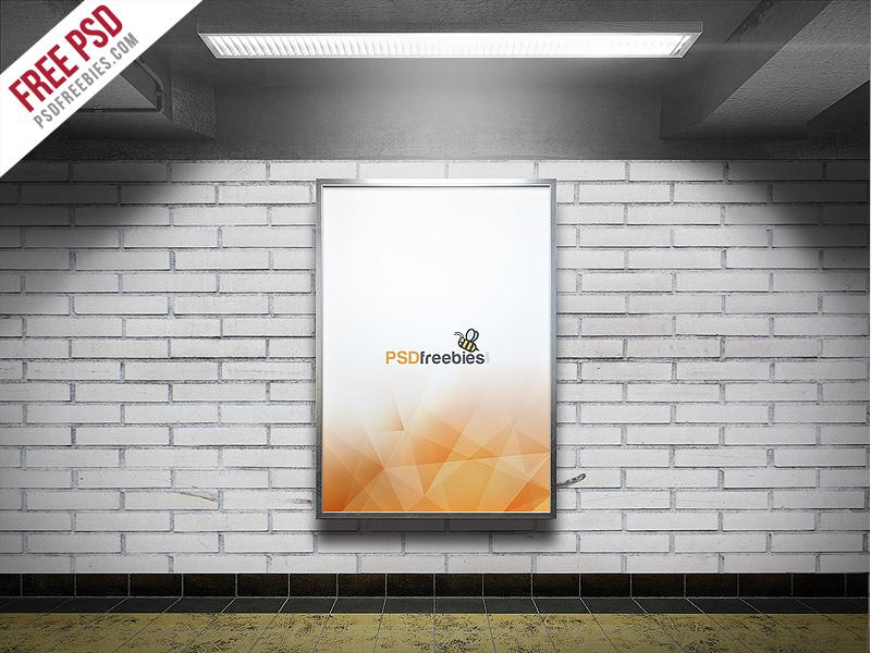 Freebie : Subway Advertising Billboard Mockup PSD free mockup display mockup presentation subway metro movie poster poster mockup freebie psd free psd advertising