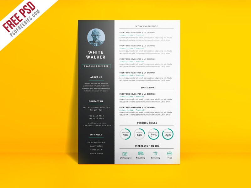 freebie simple and clean resume cv template psd by psd freebies dribbble. Black Bedroom Furniture Sets. Home Design Ideas