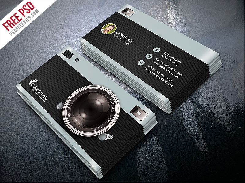 Freebie Photography Business Card Template Free PSD By PSD - Business card design template free