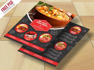 Freebie : Restaurant Food Menu Flyer Free PSD