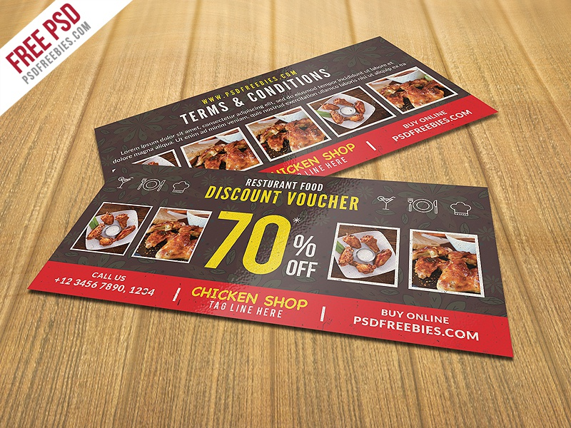 Freebie : Restaurant Food Discount Voucher Free PSD by PSD