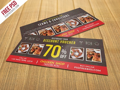 Freebie : Restaurant Food Discount Voucher Free PSD  Free Discount Vouchers