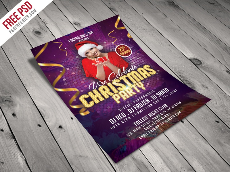 Freebie Christmas Night Party Flyer Template Free Psd By