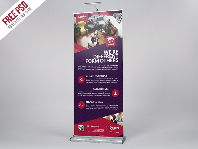 freebie multipurpose corporate roll up banner free psd. Black Bedroom Furniture Sets. Home Design Ideas