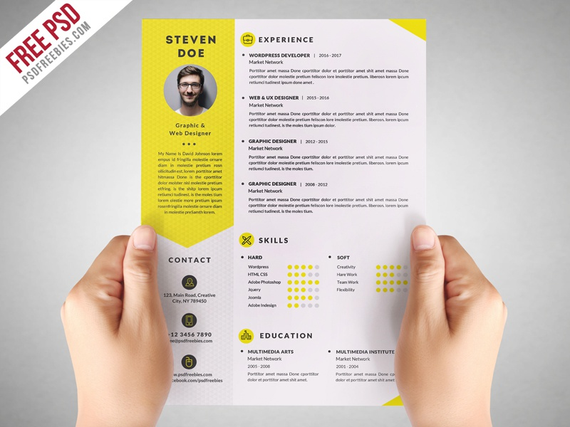 Freebie Clean Resume CV Template Free PSD