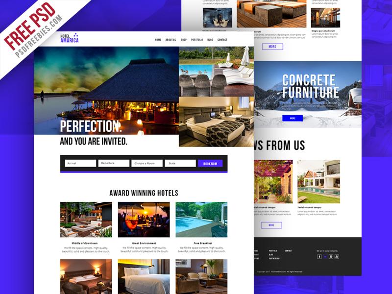 Freebie Hotel Booking Website Template Psd
