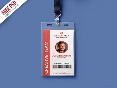 Free psd office identity card template psd by psd for Teacher id card template