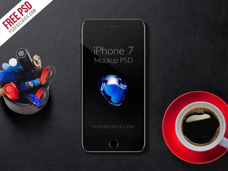 Free PSD : Apple iPhone 7 Mockup PSD free mockup black iphone7 iphone 7 mockup iphone mockup ios iphone7 iphone psd free psd