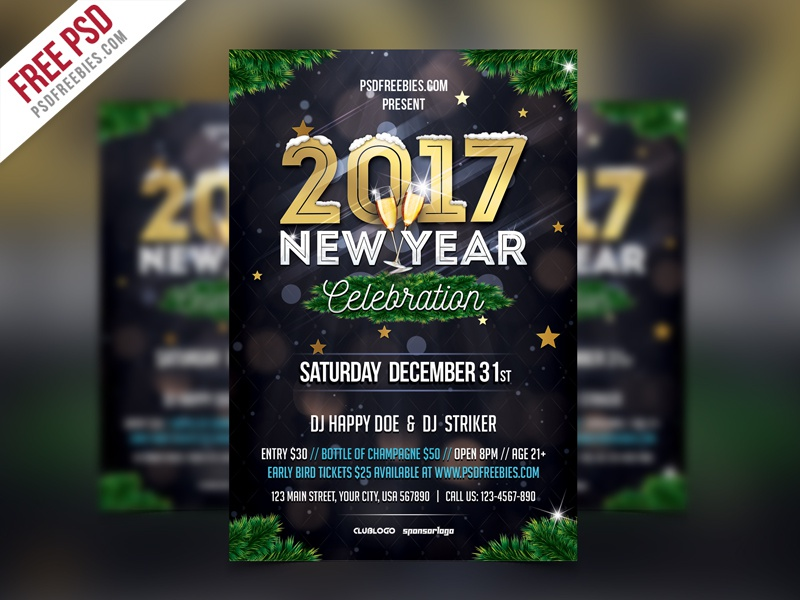 free psd new year party flyer template psd freebie print card 31st dec invitation celebration