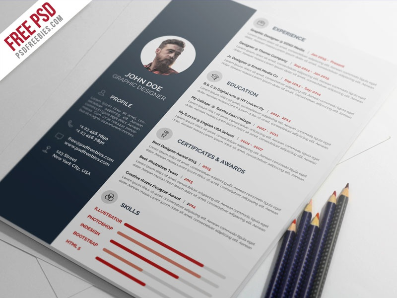 free psd   professional resume cv template psd by psd freebies