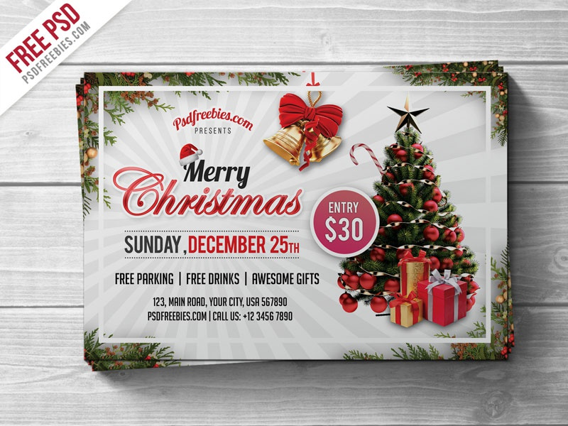 Free PSD Merry Christmas Party Flyer PSD Template By PSD Freebies