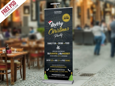 Free PSD : Christmas Party Roll Up Banner PSD