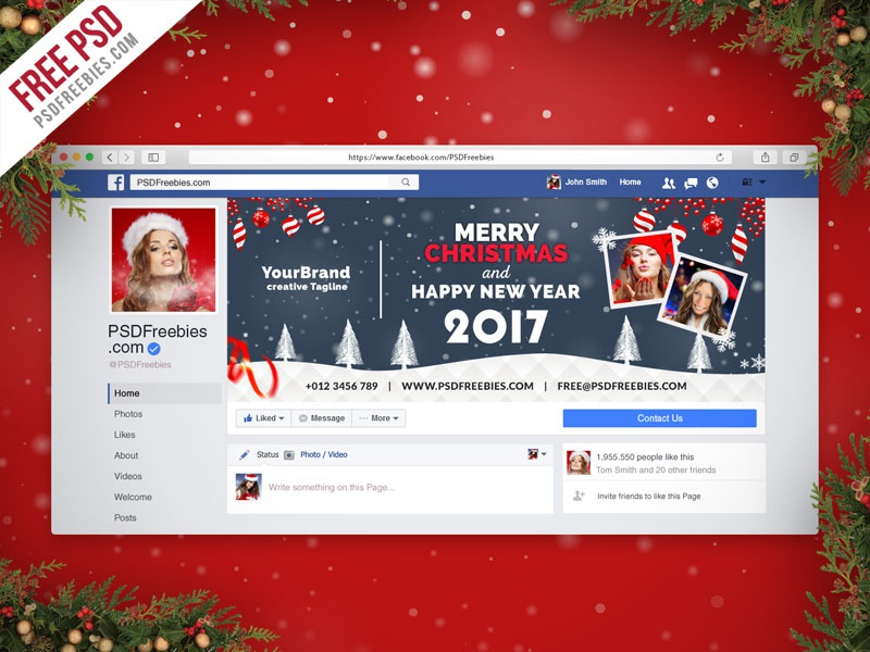 Free PSD  Christmas Facebook Cover Free PSD by PSD Freebies