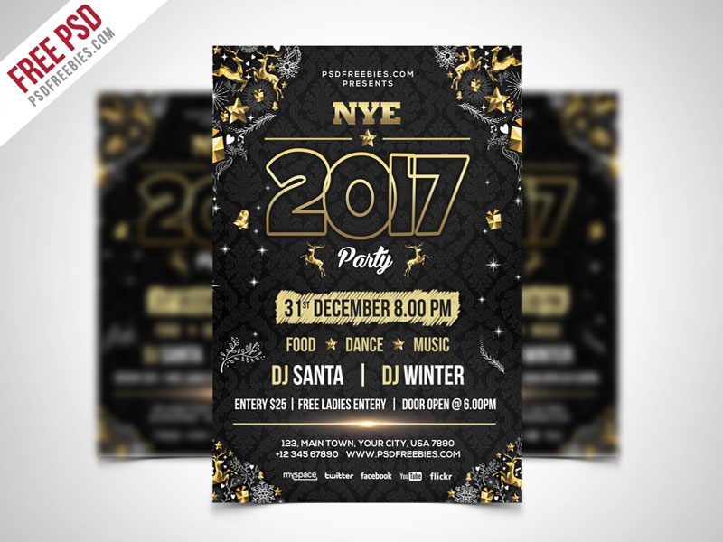 Free Psd New Year Party Flyer Psd Template By Psd Freebies Dribbble