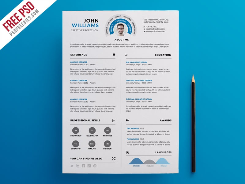 Free PSD : Clean And Infographic Resume PSD Template By PSD Freebies
