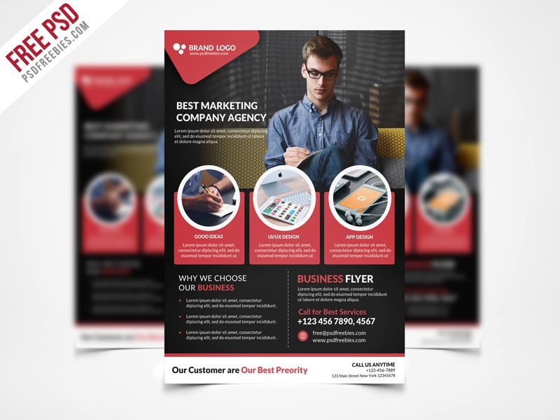Free psd corporate business flyer template psd freebie by psd corporate business flyer template psd freebie flashek Images