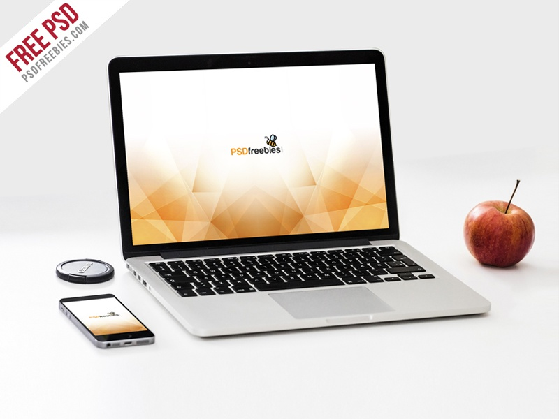 free psd macbook pro and phone mockup template psd by psd freebies