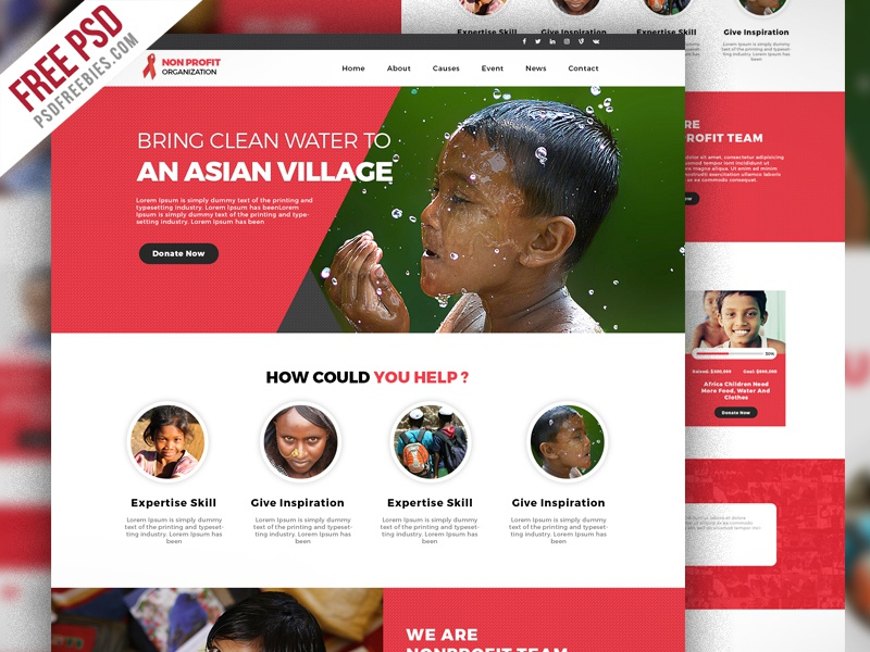 Free Psd Non Profit Organization Website Template Charity Foundation Ngo Home