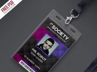 Corporate office id card psd template preview