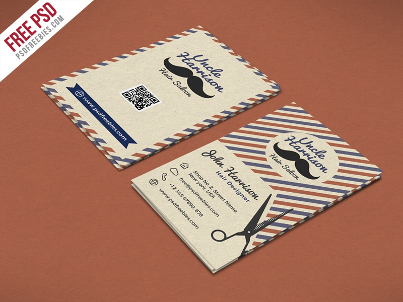 Free PSD : Retro Barber Shop Business Card PSD Template shop barber print vintage old saloon hair cutting retro business card freebie psd free psd