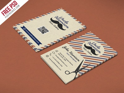 Free PSD Retro Barber Shop Business Card PSD Template By PSD - Business card design template free