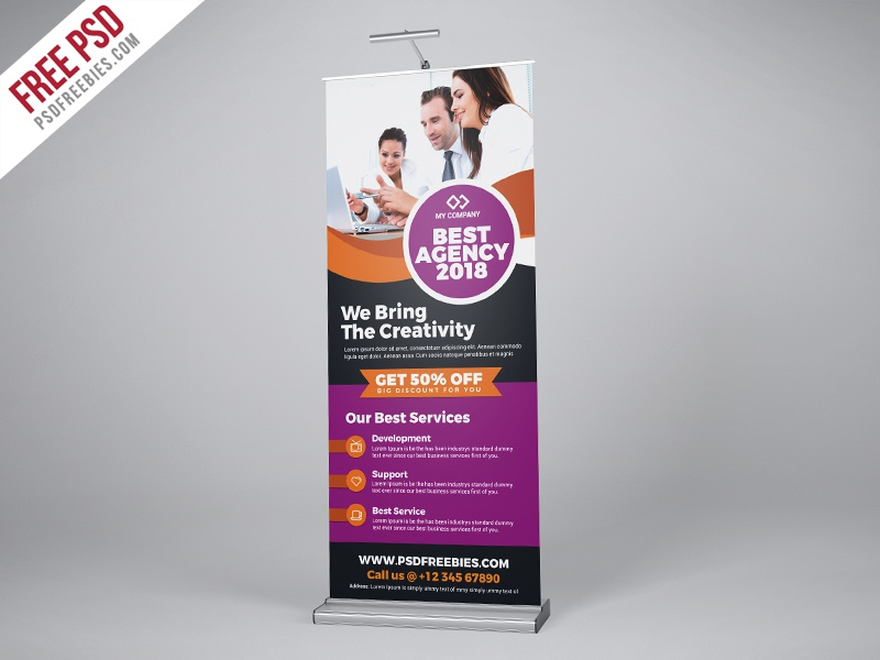 Free Psd Professional Agency Roll Up Banner Psd Template