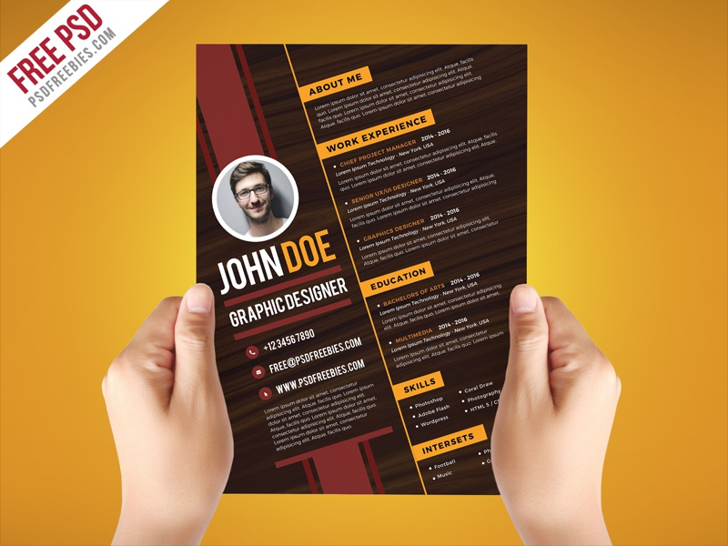 Free PSD : Creative Graphic Designer Resume Template PSD By PSD Freebies    Dribbble  Designer Resume