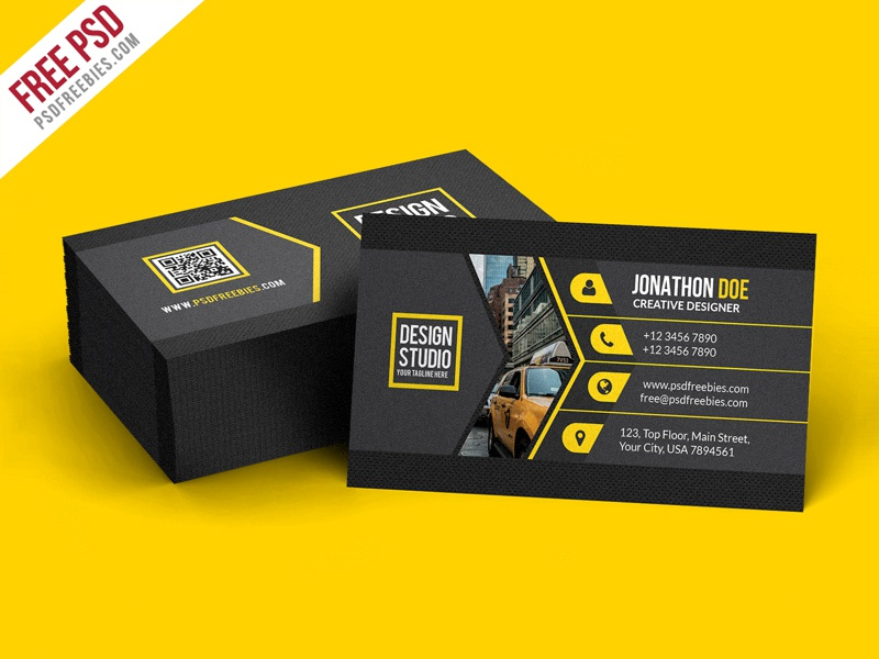 Free PSD Creative Black Business Card Template PSD By PSD - Business card psd template download