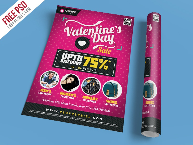 free psd valentines day shopping sale flyer template psd by psd