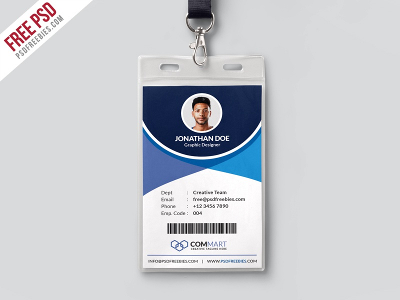 Free Psd : Corporate Office Identity Card Template Psd By Psd