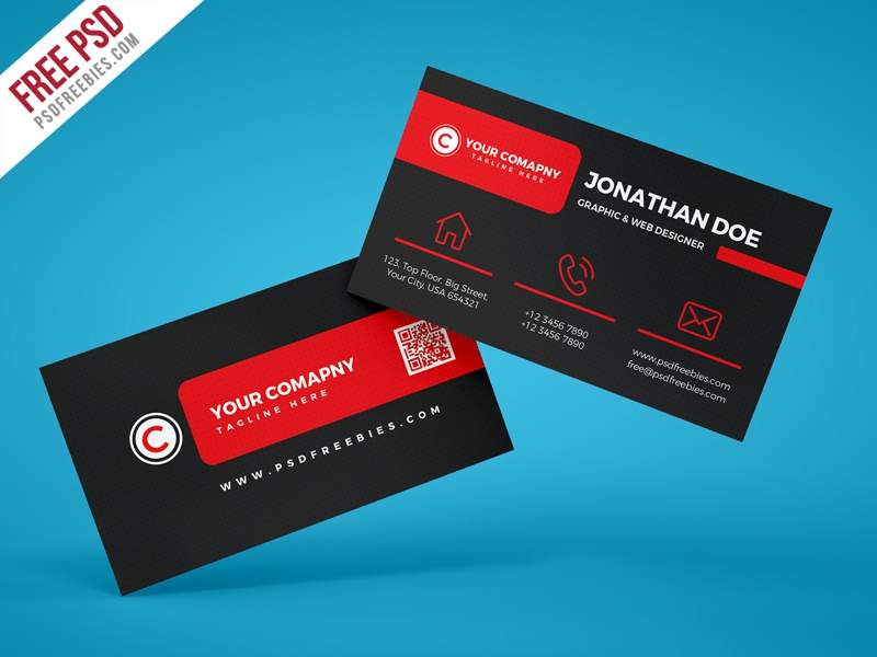 Free PSD : Black Corporate Business Card PSD Template by ...