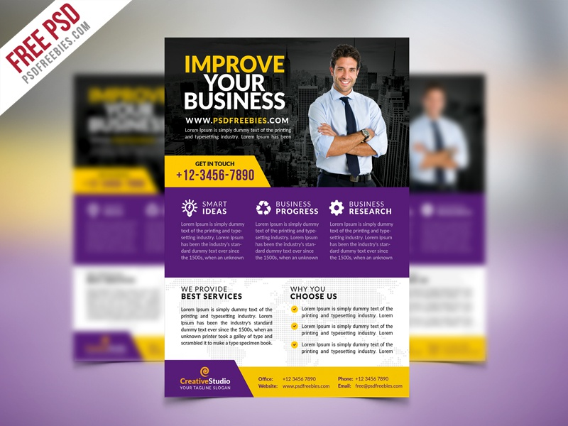 free psd multipurpose corporate business flyer psd template by psd