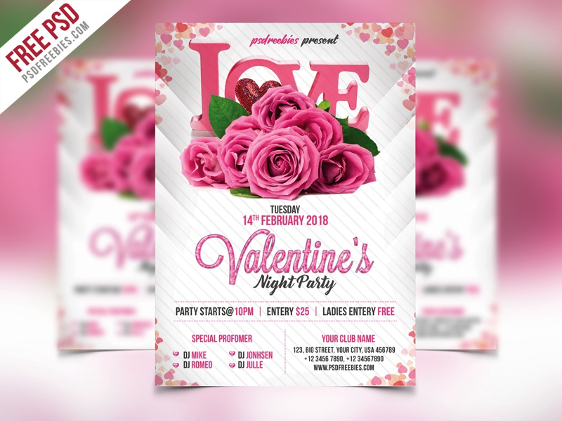 Free PSD Premium Valentines Party Flyer PSD Template By