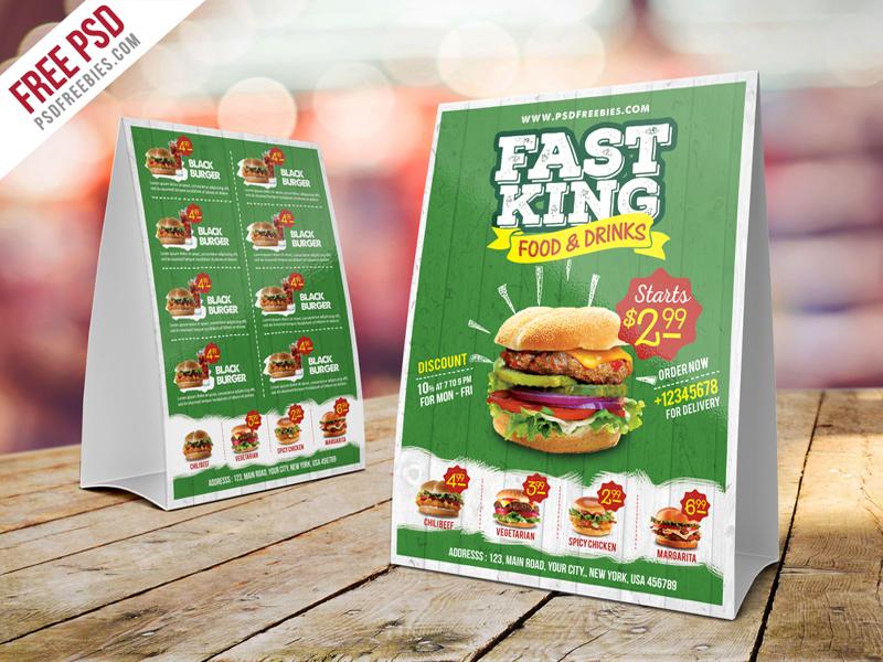 free psd fast food menu table tent template psd by psd freebies