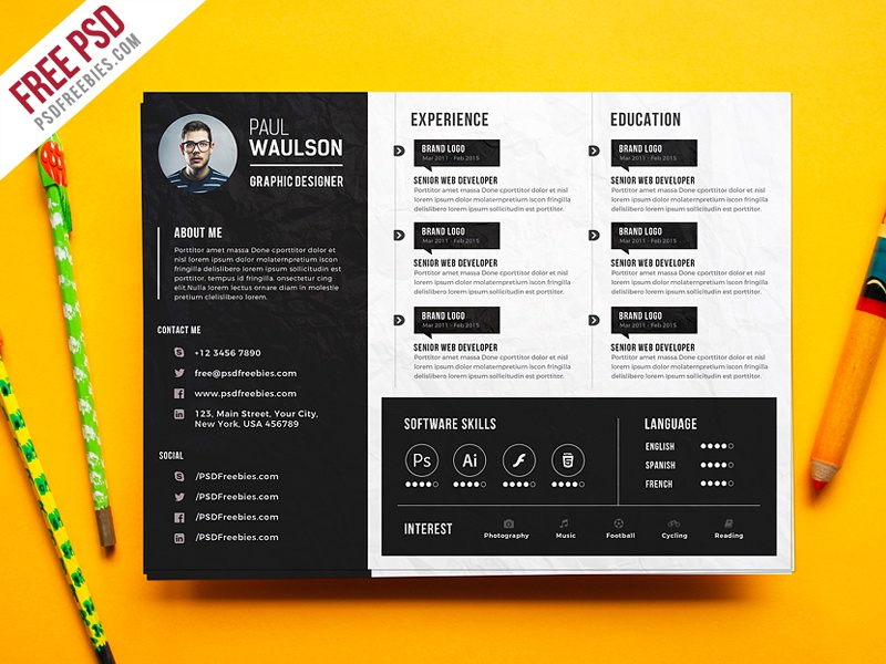 Free PSD Creative Horizontal CV Resume Template Bio Data Landsape Graphic Designer