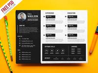 Free PSD : Creative Horizontal CV Resume Template PSD