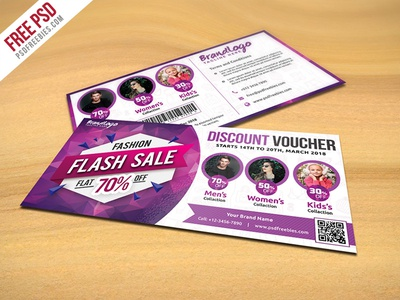 Freebie : Fashion Sale Discount Voucher Free PSD  Free Discount Vouchers