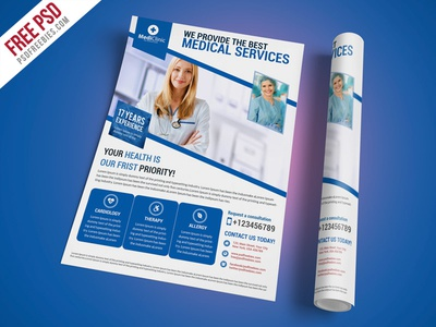 Free PSD Medical Services Flyer Template PSD By PSD Freebies - Free medical brochure templates