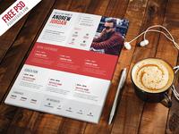 Free PSD : Creative Resume CV Template PSD
