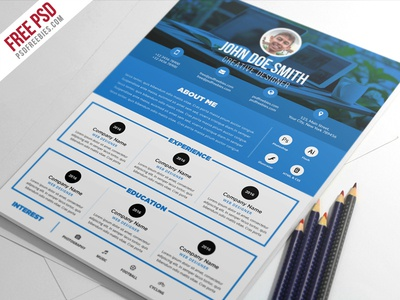 Superb Free PSD : Clean And Designer Resume CV Template PSD  Psd Resume Template