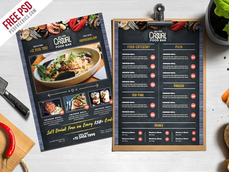 Free psd chalkboard style food menu template by