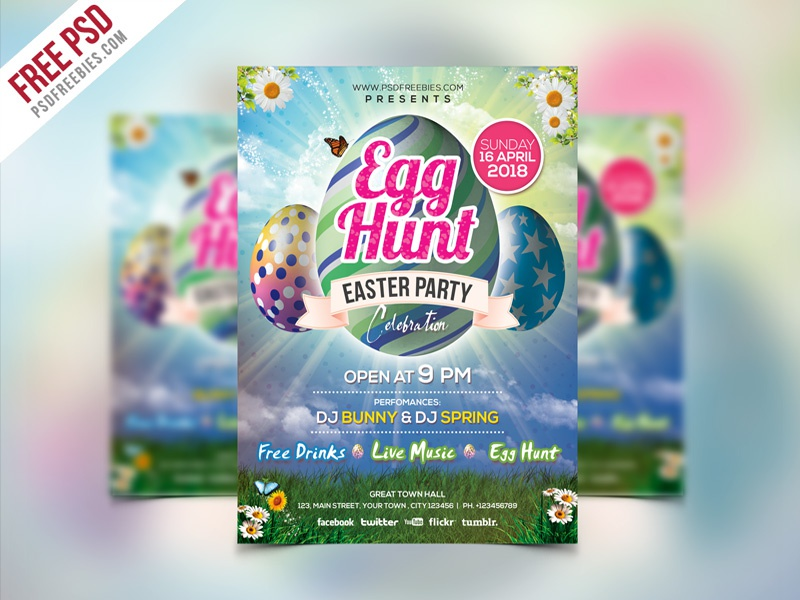 Free PSD | Easter Party Invitation Flyer Template PSD by PSD ...