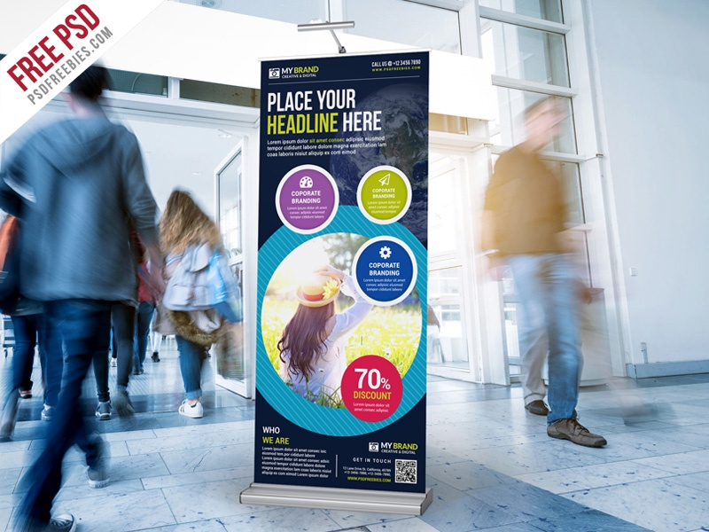 Free PSD :  Multipurpose Advertising Roll-Up Banner PSD freebie professional agency free psd psd advertisement business corporate rollup banner display standy