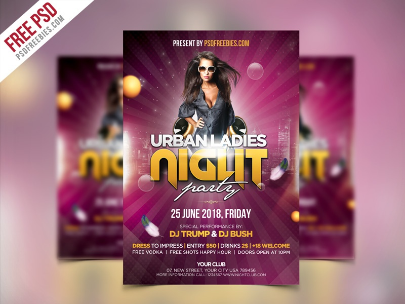 Free PSD : Ladies Night Party Flyer PSD Template