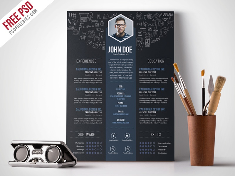 Free PSD : Creative Designer Resume Template PSD by PSD Freebies on ...