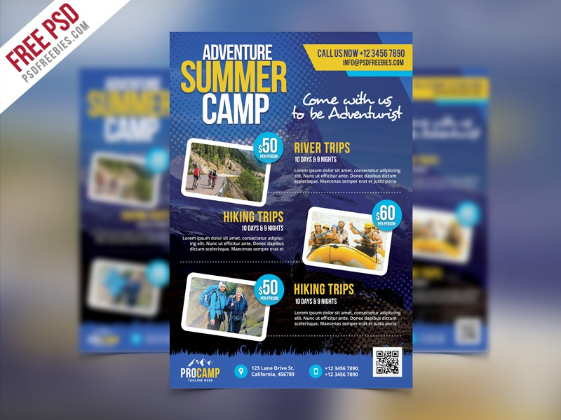 Free PSD : Adventure Summer Camp Flyer Template PSD