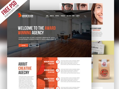 Free PSD : Clean and Creative Agency Website Template by PSD ...