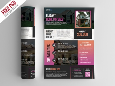 Free PSD : Real Estate Flyer Template PSD